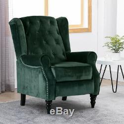 Luxurious WingBack Recliner Chair Velvet Armchair Fireside Occasional Chair Sofa