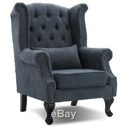 Luxury Chesterfield Queen Anne High Wing Back Fireside Tub Armchair Chair Seat