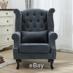 Luxury Grey High Back Chair Chesterfield Queen Anne Fireside Winged Armchair UK