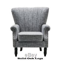 Luxury Occasional Wing Sofa High Back Fireside Armchair Lounge Bedroom Oak Wood