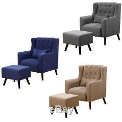 Modern Fabric Corner Sofa Tub Chair High Back Fireside Armchair with Footstool