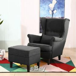 Modern High Wing Back Armchair Footstool Sofa Cushion Fireside Chair Lounge