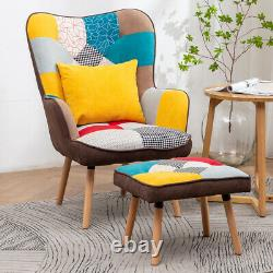 Multicolor Patchwork Fabric Armchair With Footstool Wing Back Fireside Chair