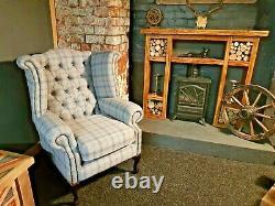 NEW Chesterfield Wing Back Queen Anne Fireside Chair Stylish Grey Tartan Pattern