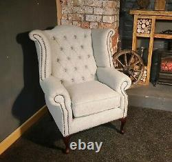 NEW Grey Chesterfield Wingback Queen Anne Style Fireside Chair Pure Wool