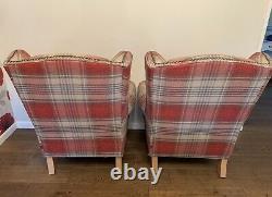 NEXT 2 Pair Of Red Check Tartan Sherlock Fireside Wingback High Back Armchairs