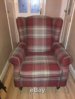 Next Sherlock Red Tartan Armchair Fireside Wingback Chair
