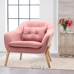 Nordic Armchair Velvet Oyster Wing Back Scalloped Tub Chair Lounge Sofa Fireside