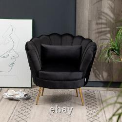 Nordic Oyster Chair Armchair Lotus Shaped Fireside Lounge Sofa Seat Matte Velvet