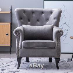 Nordic Sofa Velvet Fabric Wingback Armchair Queen Lounge Accent Chair Fireside