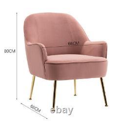 Nordic Velvet Armchair Lounge Tub Chair Sofa Fireside Grey/YellowithPink Armchairs