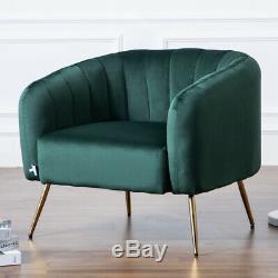 Nordic Velvet Metallic Armchair Mini Sofa Tub Chair Home Reception Fireside Seat