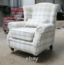 Oberon Beige Cream Check High Back Wing Chair Fireside Checked Tartan Fabric