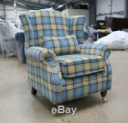 Oberon Blue Check High Back Wing Chair Fireside Checked Tartan Fabric
