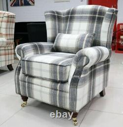Oberon Charcoal Grey/beige Check High Back Wing Chair Fireside Checked Tartan