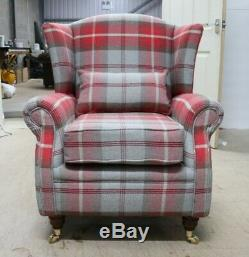 Oberon Cherry Red Check High Back Wing Chair Fireside Checked Tartan Fabric
