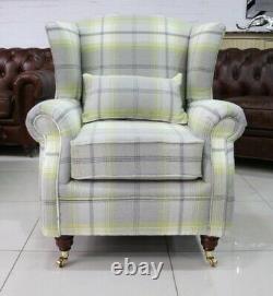Oberon Citrus Green Check High Back Wing Chair Fireside Checked Tartan Fabric