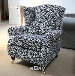 Oberon Fireside High Back Wing Chair Dalmation Animal Print Fabric