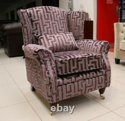 Oberon Fireside High Back Wing Chair Geometric Amethyst Purple Velvet Fabric
