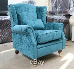 Oberon Fireside High Back Wing Chair Kingfisher Blue Teal Fabric