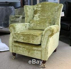 Oberon Fireside High Back Wing Chair Lime Green Velvet Fabric