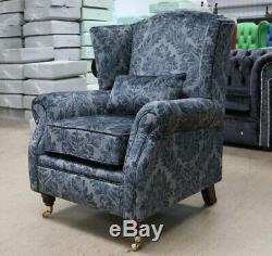 Oberon Fireside High Back Wing Chair Medallion Blue Velvet Fabric