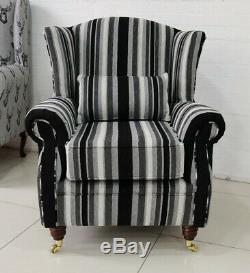 Oberon Fireside Wing Chair Black Grey Stripe Fabric
