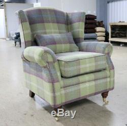 Oberon Pistachio Green Check High Back Wing Chair Fireside Checked Tartan Fabric