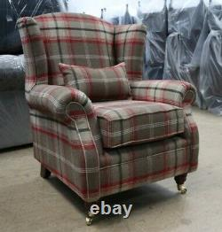 Oberon Red Brown Check High Back Wing Chair Fireside Checked Tartan Fabric