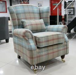 Oberon Royal Blue Check High Back Wing Chair Fireside Checked Tartan Fabric