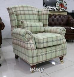 Oberon Sage Green Check High Back Wing Chair Fireside Checked Tartan Fabric