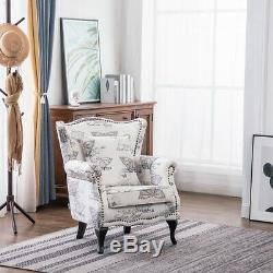 Occasional Butterfly Pattern Wing Armchair High Back Velvet Tub Fireside Chair