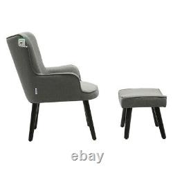 Occasional Cashmere Armchair Match Footstool Set Fireside Sofa Lounge Chair Grey