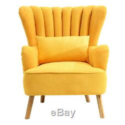 Occasional Chenille Wing Back Oyster Armchair Lounge Sofa Chair Fireside Fabric