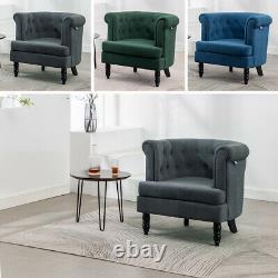 Occasional Chesterfield Retro Velvet Armchair Tub Chair Barrel Club Button Sofa