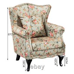 Occasional High Back Wing Floral Fabric Tub Armchair Fireside Lounge Chair Sofa