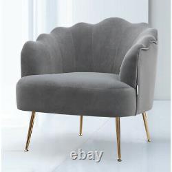 Occasional Matte Velvet Armchair Oyster Chair Single Sofa Metallic Legs Fireside