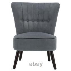 Occasional Scallop Oyster Wing Chair Velvet Fabric Lounge Padded Seat Fireside