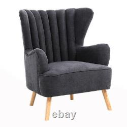 Occasional Scalloped Armchair Fireside Wing Chair Lounge Free Footstool Velvet