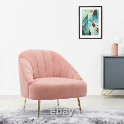 Occasional Scalloped Back Matte Velvet Tub Chair Fireside Oyster Armchair Lounge