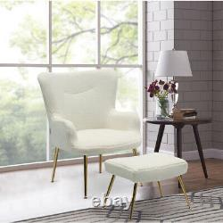 Occasional Teddy Fabric Armchair Smile Sofa with Footrest Stool Chair Fireside