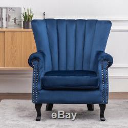 Occasional Velvet Armchair Fireside Lounge Sofa Midnight Blue Chair Wing Studded