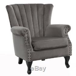 Occasional Velvet Armchair Oyster Chair Single Seat Sofa Nailhead Rivet Fireside