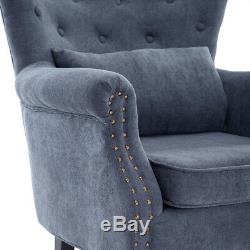 Occasional Velvet Fireside Queen Anne Chair Armchair Wing Back Nailhead Buttoned