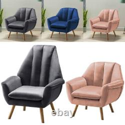 Occasional Velvet Oyster Winged Armchair Tulip Shape Chair Fireside Nordic Sofa