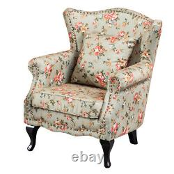 Occasional Wing Back Armchair Fireside Floral Fabric Chair Rustic Style Sofa New