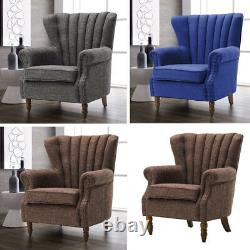 Occasional Wing Back Chesterfield Armchair Fireside Fabric Tub Chair Lounge Sofa