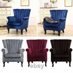 Occasional Wing Back Fireside Velvet Armchair Retro Rivets Sofa Lounge Tub Chair