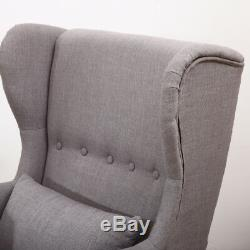 Occasional Wing Chair High Back Fabric Linen Tub Armchair Fireside+Footstool Set