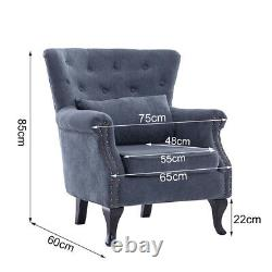 Occasional Wing Chair High Back Fabric Velvet Tub Armchair Fireside Living Room